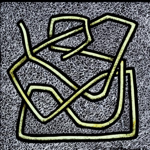 Square illuminated stained glass panel. The background is black and filled with white squiggles. The forground is a twisted yellow line outlined in black.